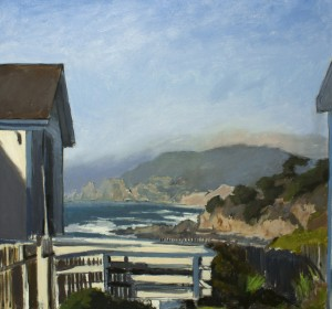 A painting by David Dunn of Devils Slide from Montara Light House near California Highway One 2012