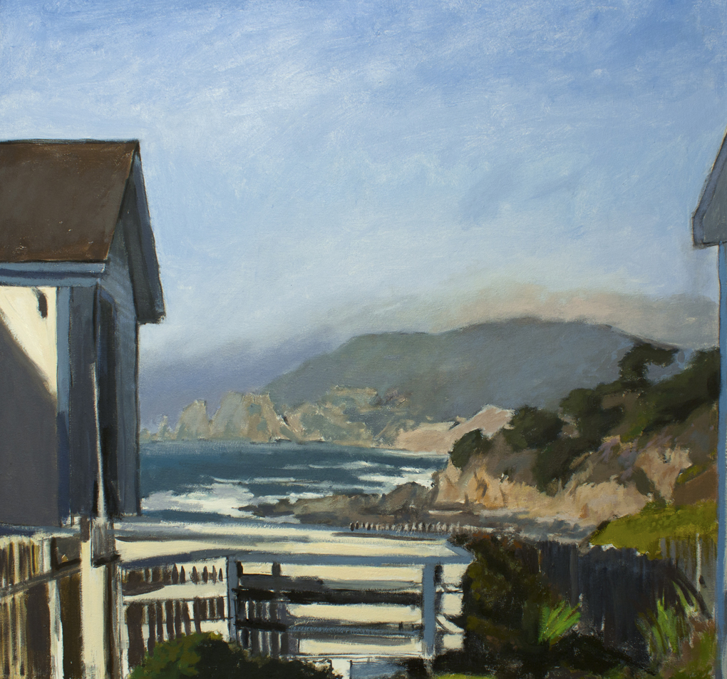 Devils Slide from Montara Light House California painting by David Dunn, oil on canvas, 30 x 32 inches, ocean drawing