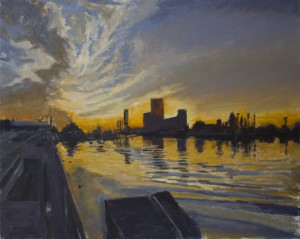 A painting by David Dunn of Islais Creek, Morning, 24 x 30 inches, 2012.