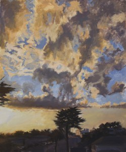A painting by David Dunn, Crespi Clouds, 36 x 30 inches, oil on canvas, 2012