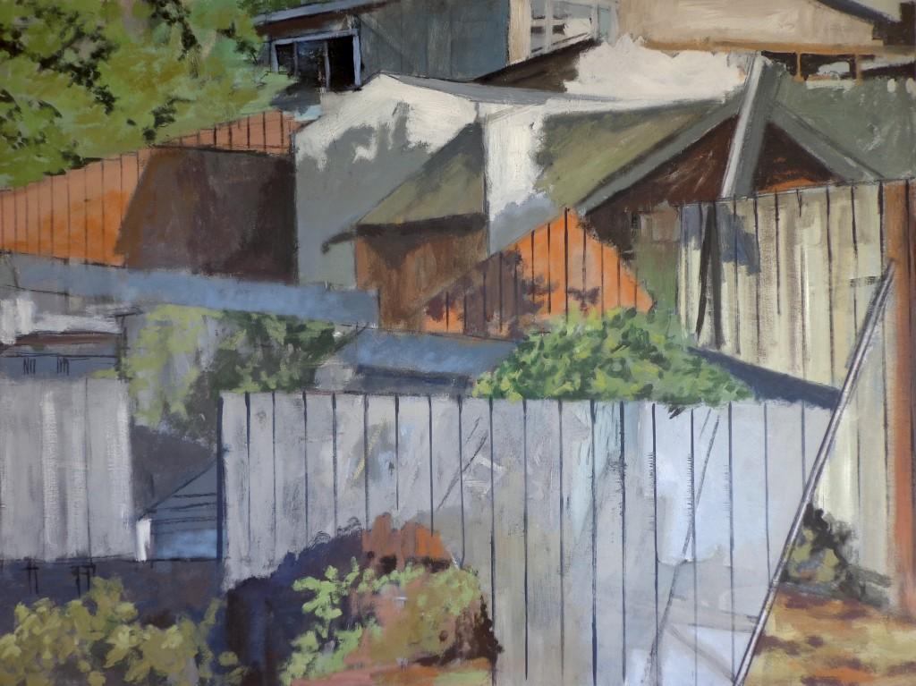Fences & Houses, David Dunn, oil on canvas, 30 x 40 inches.