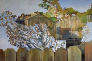 Autumn, House, Fence and Trees, David Dunn, oil on canvas, 24 x 36 inches.