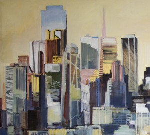 City Composite, San Francisco (Detail), David Dunn, oil on canvas, 24 x 48 inches.