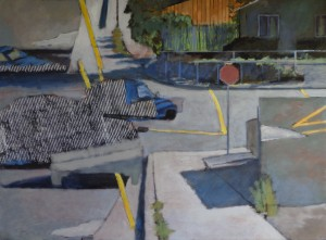 Alicante Truck Stripe, David Dunn, oil on canvas, 34 x 46 inches.