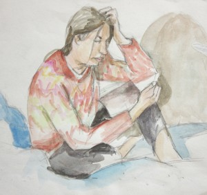 Miriam Reading, a watercolor painting by David Dunn, 8 x 8 inches, 1995.