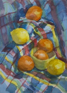 Oranges and Lemons, a watercolor painting by David Dunn, 11 x 8 inches, 1995.