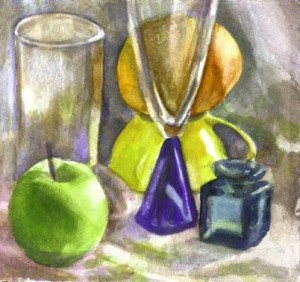 Still Life Green Apple, Orange, Glasses, David Dunn, watercolor on paper, 6 x 6 inches.