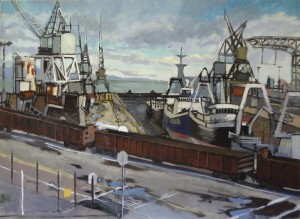 Hunters Point Shipyard, San Francisco, Drydock, Train, David Dunn, 2000, oil on linen, 48 x 66 inches.