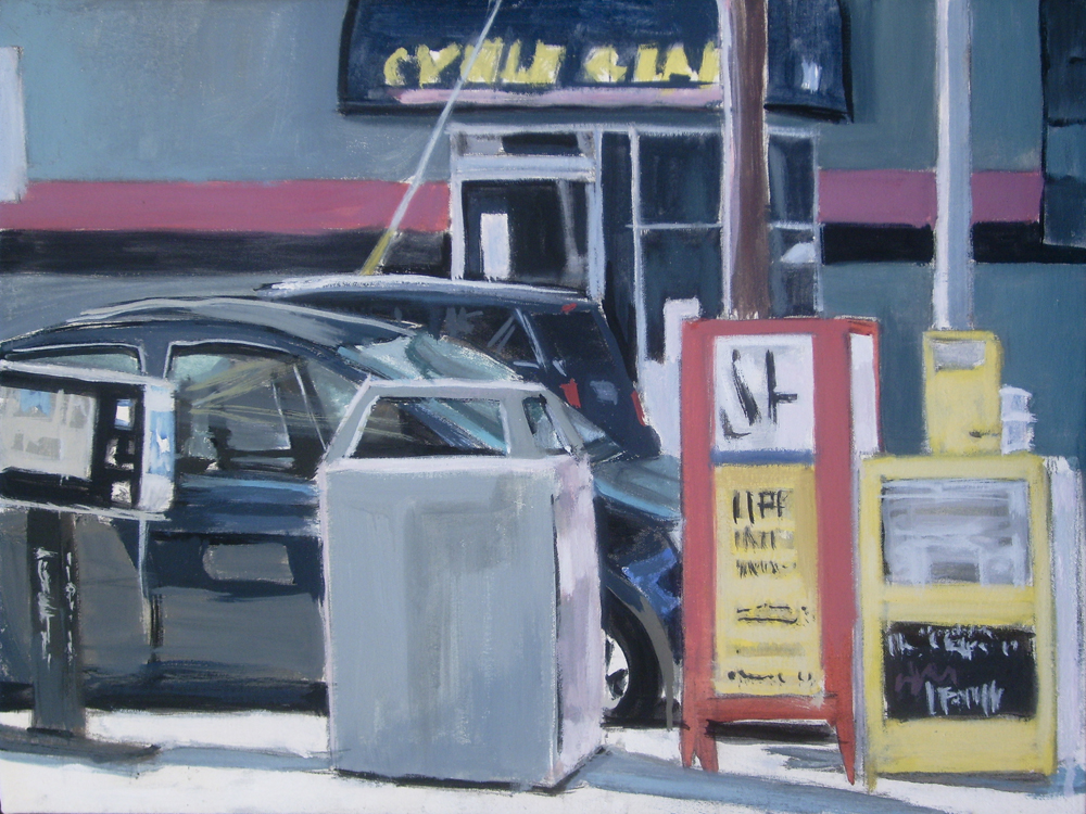 News Racks 3rd and Harrison, San Francisco, David Dunn, 2010, oil on canvas, 18 x 24 inches.