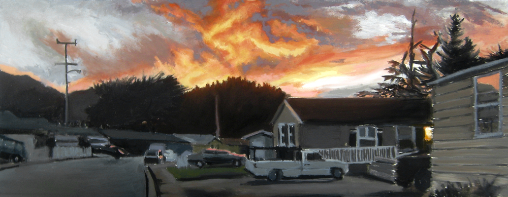 Serena Drive, Pacifica, Looking East at Sunset, David Dunn 2011, oil on canvas,14 x 36 inches.