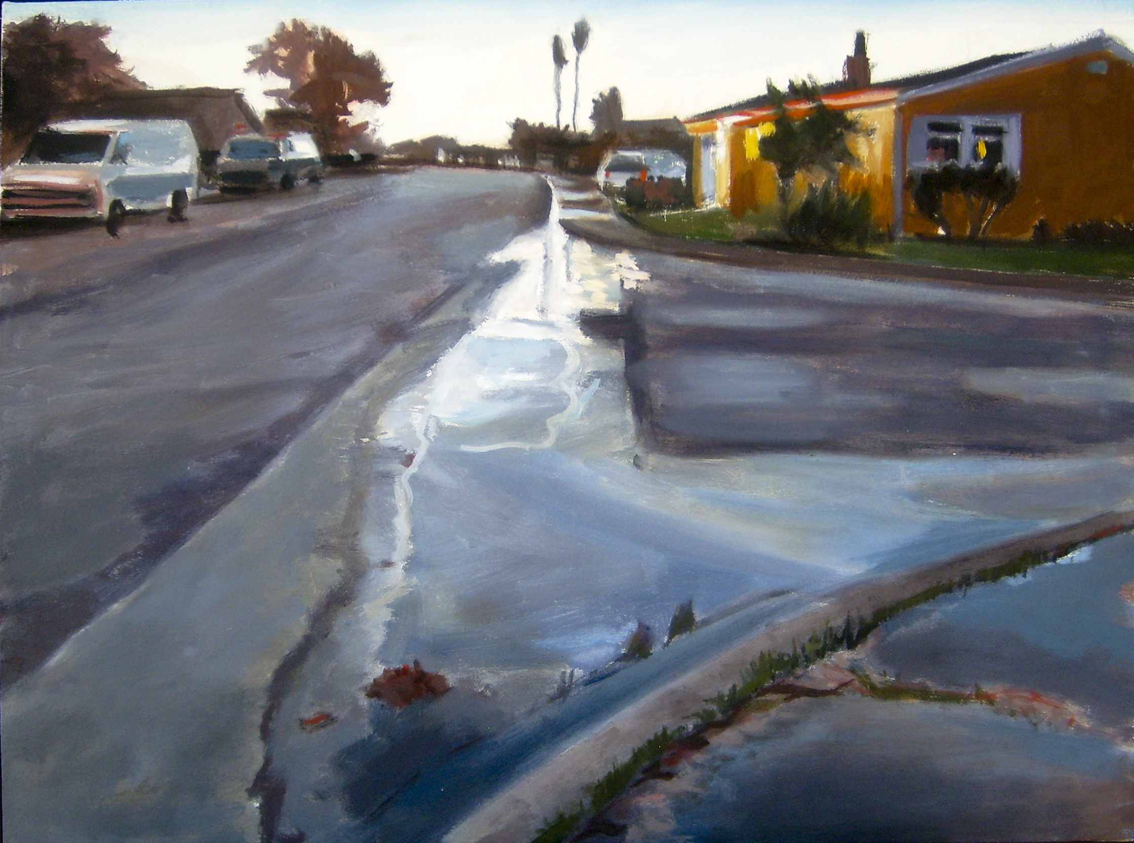 Street Puddle, Pacifica, 2011 David Dunn, oil on canvas, 20 x 28 inches.