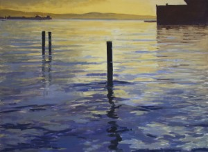 San Francisco Bay, Morning Reflection, David Dunn, oil on canvas, 36 x 48 inches.
