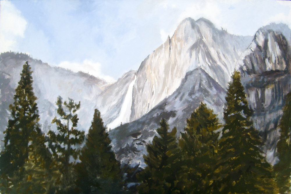 Yosemite California painting by David Dunn, oil on canvas, 24 x 36 inches, 2011