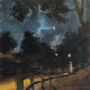 Night on Ladera, 6 x 6 inches, oil on canvas, 2018 painted by David Dunn