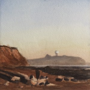 Pilar Point, 6 x 6 watercolor on paper, painted by David Dunn, 2018
