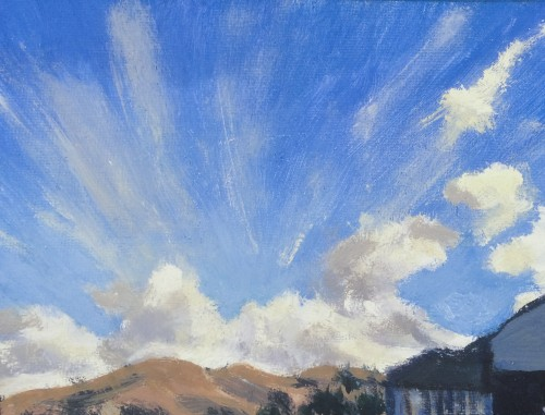 Clouds & Hill in Pacifica California painting by David Dunn, 4 x 6 inches, oil on canvas, 2018