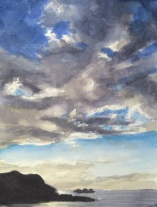 Clouds over Pedro Point, 6 x 4 inches, watercolor on paper, painted by David Dunn2018