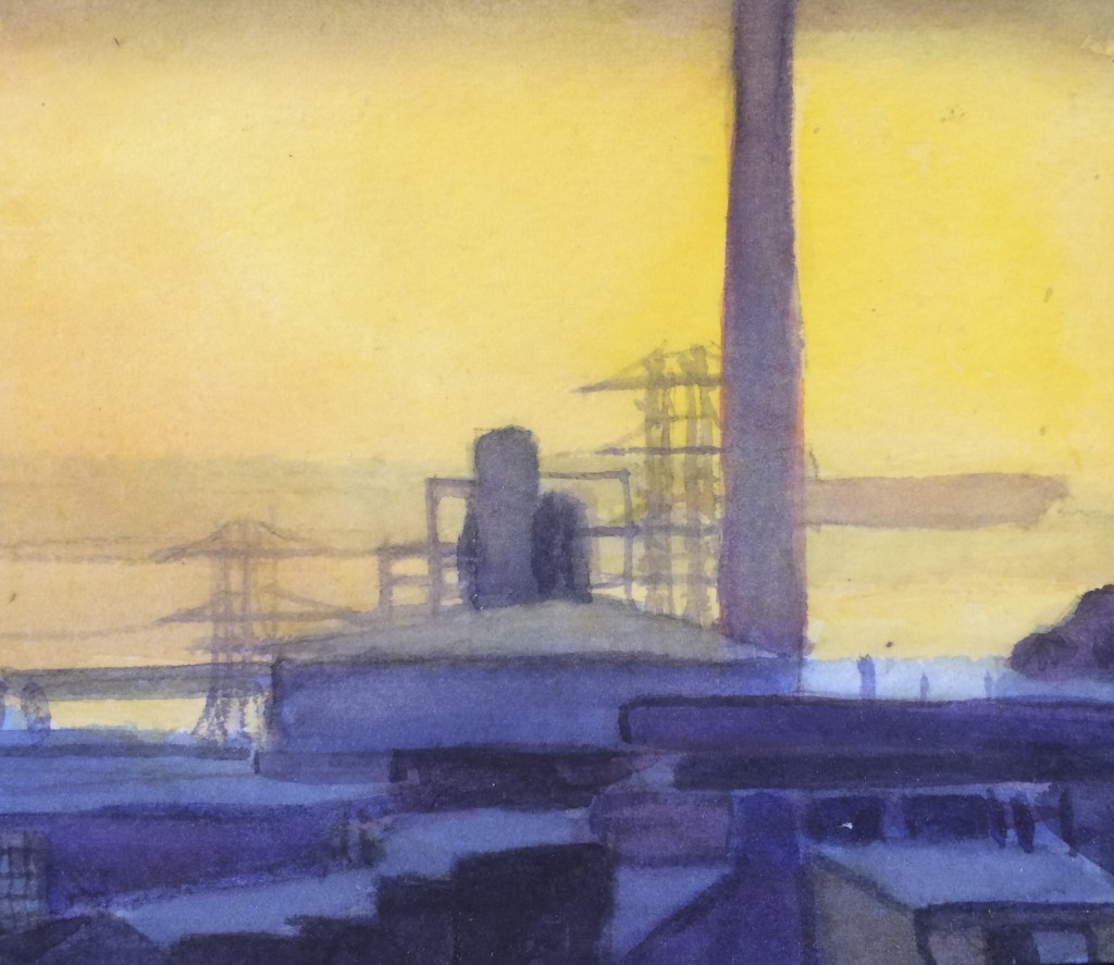 Power Plant San Francisco California painting by David Dunn, watercolor on paper, 4 x 5 inches, 2018