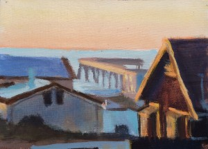 Houses and Pier in Pacifica, oil on canvas, David Dunn, 2018