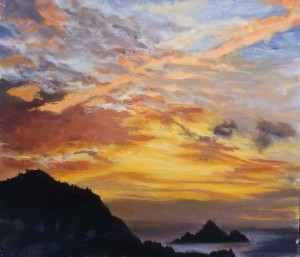 Pedro Point Sunset, oil on canvas, David Dunn, 2018