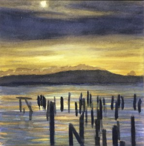 Piers & Ocean drawing by David Dunn, watercolor on paper, 6 x 6 inches, California painting, San Francisco Bay Oakland Hills