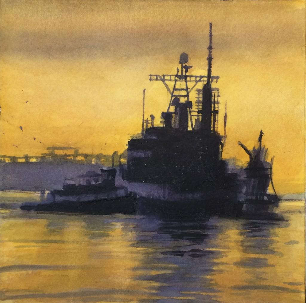 Boat San Francisco Bay California painting by David Dunn, watercolor on paper, 6 x 6 inches, boats, ocean drawing