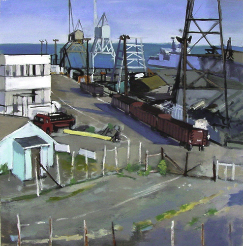 Train Cranes San Francisco California Painting by David Dunn, oil on canvas, 36 x 36 inches, sold in 2001, ship, bay and ocean drawing