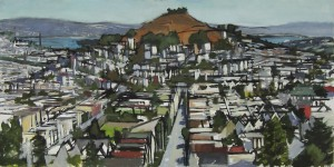 Painting by David Dunn, 2010, San Francisco, Bernal Hill from Noe Valley, sold, oil on canvas