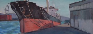 Painting by David Dunn, 2010, San Francisco, Shipyard, sold, oil on canvas