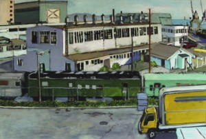 Painting by David Dunn, 2010, San Francisco, Hunters Point Shipyard, sold, oil on canvas